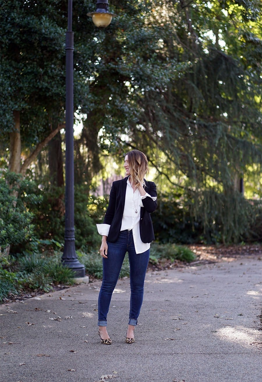 How to wear high rise skinny blue jeans | Three different ways to skinny jeans, with a tailored jacket to work, layered under a dress and worn with a sheer, tulle skirt